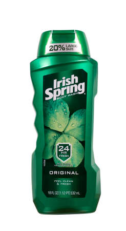 RIVER FALLS,WISCONSIN-AUGUST 11,2014: A bottle of Irish Spring brand body wash. Irish Spring is distributed by Colgate Palmolive Company of New York.