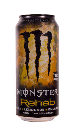 RIVER FALLS,WISCONSIN-AUGUST 13,2014: A can of Monster Rehab Energy Drink. This product is manufactured for Monster Energy Company of Corona,California.