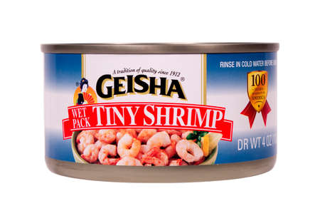 RIVER FALLS,WISCONSIN-AUGUST 18,2014: A can of Geisha brand tiny shrimp. Geisha is a product of World Wide Food Products Inc. Sajtókép