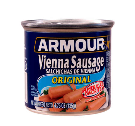 RIVER FALLS,WISCONSIN-AUGUST 19,2014: A can of Armour brand Vienna Sausage  The Armour Star food brand is owned by Pinnacle Foods. Sajtókép