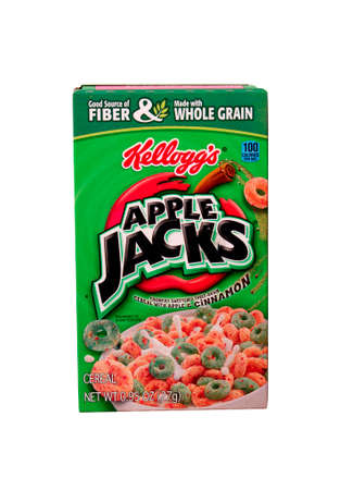 jacks: RIVER FALLS,WISCONSIN-AUGUST 28,2014: A box of Kelloggs Apple Jacks cereal. Kelloggs is headquartered in Battle Creek,Michigan. Editorial