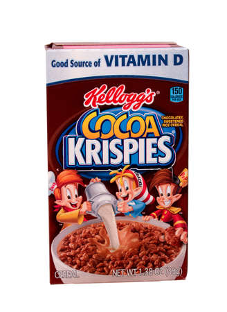 headquartered: RIVER FALLS,WISCONSIN-AUGUST 28,2014: A box of Kelloggs Cocoa Krispies breakfast cereal. Kelloggs is headquartered in Battle Creek,Michigan