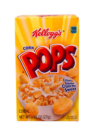 RIVER FALLS,WISCONSIN-SEPTEMBER 02,2014: A box of Kellogg's Corn Pops. Kellogg's is an American food company based in Battle Creek,Michigan.