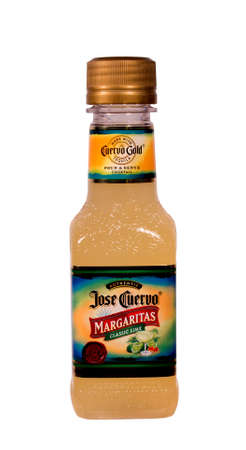 RIVER FALLS,WISCONSIN-SEPTEMBER 05,2014: A bottle of Jose Cuervo Margaritas. Jose Cuervo is the best selling Tequila in the world.
