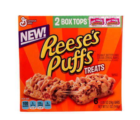reese's: RIVER FALLS,WISCONSIN-SEPTEMBER 09,2014: A box of General Mills Reeses Puffs treats. General Mills is headquartered in Golden Valley,Minnesota. Editorial
