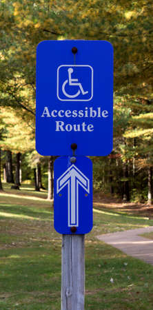 ign indicating that the path is accessible to handicapped people Stock fotó