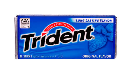 RIVER FALLS,WISCONSIN-OCTOBER 05,2014: A package of Trident sugar free gum with Xylitol. Trident was introduced in the United Kingdom in Nineteen Sixty.