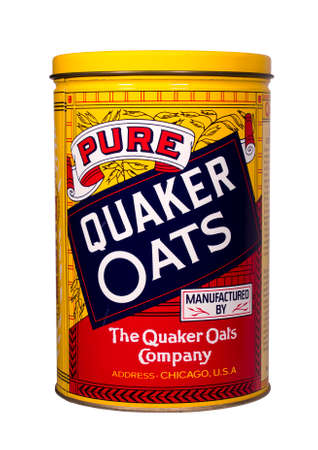 quaker: RIVER FALLS,WISCONSIN-NOVEMBER 8,2014: A vintage Quaker Oats tin. The Quaker Oats Company is based in Chicago,Illinois. Editorial