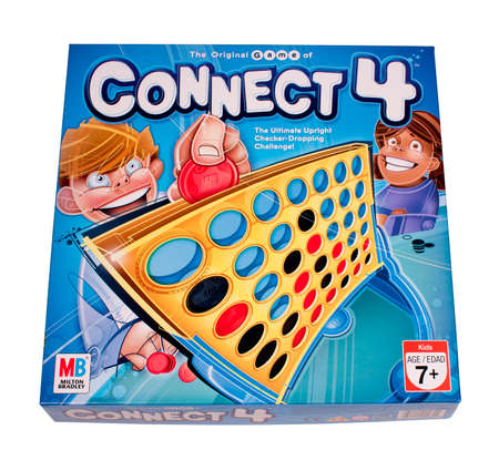 milton: RIVER FALLS,WISCONSIN-DECEMBER 06,2014: The game of Connect 4 by Milton Bradley. Connect 4 was first sold in Nineteen Seventy Four.