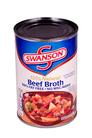 RIVER FALLS,WISCONSIN-DECEMBER 12,2014: A can of Swanson brand Natural Beef Broth. Swanson is a brand owned by Campbells Soup Company.