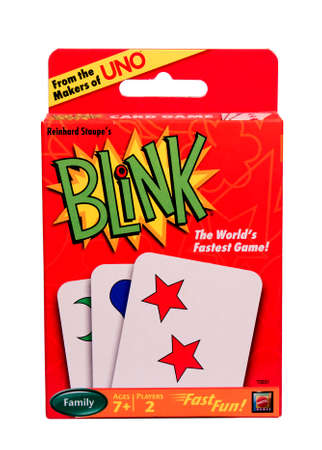 blink: RIVER FALLS,WISCONSIN-DECEMBER 22,2014: A package of Blink playing cards. Blink is a product of Mattel Games. Editorial