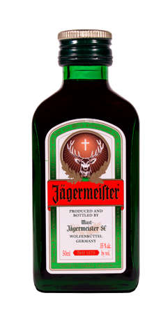RIVER FALLS,WISCONSIN-DECEMBER 26,2014: A bottle of Jagermeister Herbal Liqueur. Jagermeister is a product of Germany.