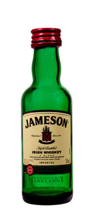 distilled alcohol: RIVER FALLS,WISCONSIN-DECEMBER 29,2014: A bottle of Jameson Irish Whiskey. This whiskey is a product of Ireland.