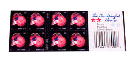 RIVER FALLS,WISCONSIN-JANUARY 08,2015: A sheet of United States First-Class postage stamps. These stamps are good even if the price increases.