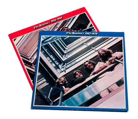 seventy two: RIVER FALLS,WISCONSIN-JANUARY 15,2015: Two vintage Beatles albums covering Nineteen Sixty Two to Nineteen Seventy. The Beatles recorder their first album in Nineteen Sixty Two.