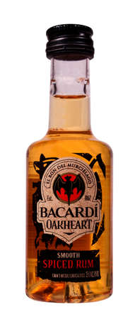 bacardi: RIVER FALLS,WISCONSIN-JANUARY 16,2015: A bottle of Bacardi Oakheart spiced rum. Bacardi Limited is the largest family-owned spirits company in the world. Editorial