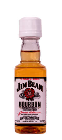 RIVER FALLS,WISCONSIN-JANUARY 26,2015: A bottle of Jim Beam Bourbon Whiskey. Jim Beam Distillery is located in Frankfort,Kentucky.