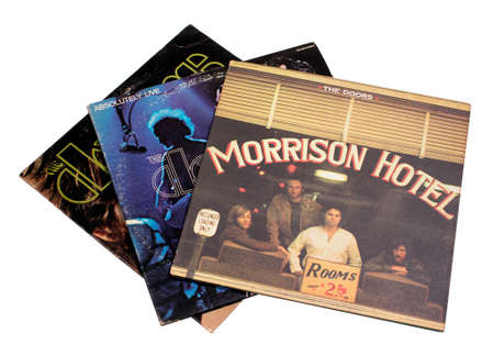 RIVER FALLS,WISCONSIN-JANUARY 27,2015: Three vintage Doors record albums. The Doors band was formed in Nineteen Sixty Five in Los Angeles. Editorial