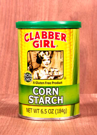 starch: RIVER FALLS,WISCONSIN-FEBRUARY 03,2015: A can of Clabber Girl gluten free corn starch. Corn starch is used for thickening sauces and soups.