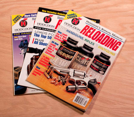 reloading: RIVER FALLS,WISCONSIN-FEBRUARY 11,2015: Three copies of Hogdon Reloading annual manual. This magazine is published by Primedia Publications.