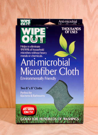 RIVER FALLS,WISCONSIN-FEBRUARY 16,2015: A package of two Anti-Microbial microfiber clothes. This product is distributed by Mima Towel and Supply.