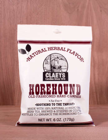 sooth: RIVER FALLS,WISCONSIN-FEBRUARY 16,2015: A bag of Claeys Horehound candy. Horehound drops are a candycough medicine made from Marrubium Vulgare.