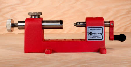 RIVER FALLS,WISCONSIN-FEBRUARY 23,2015:A Hornady mettalic cartridge case trimmer. This tool is used to trim cases when reloading metallic cartridges.
