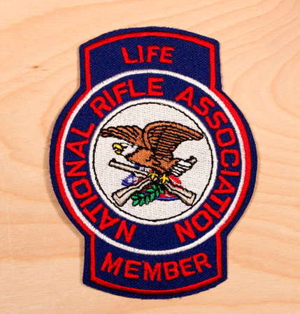 RIVER FALLS,WISCONSIN-FEBRUARY 24,2015: A National Rifle Association Life Member patch. The National Rifle Association was founded in Eighteen Seventy One. Redactioneel