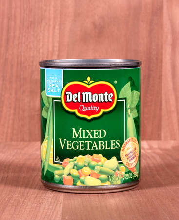 RIVER FALLS,WISCONSIN-FEBRUARY 25,2015: A can of Del Monte mixed vegetables. Del Monte Foods Incorporated is headquartered in San Francisco.