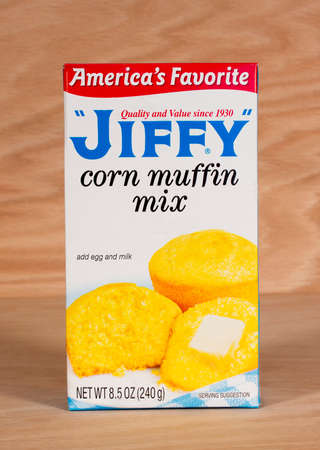 RIVER FALLS,WISCONSIN-FEBRUARY 25,2015: A box of Jiffy corn muffin mix. The Jiffy brand is owned by Chelsea Milling Company of Chelsea,Michigan.