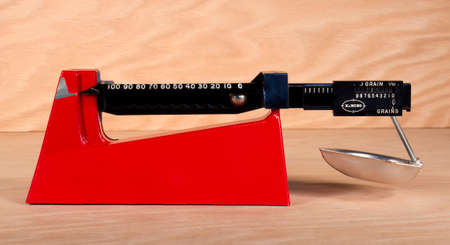 RIVER FALLS,WISCONSIN-FEBRUARY 27,2015: A Lee Precision balance beam powder scale. Lee Precision is located in Hartford,Wisconsin. Sajtókép