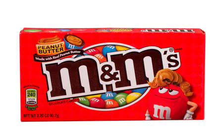 RIVER FALLS,WISCONSIN-MARCH 02,2015: A box of Peanut Butter M&Ms candy. This candy is a product of Mars Incorporated.