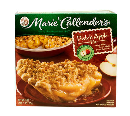 viejo: RIVER FALLS,WISCONSIN-MARCH 08,2015: A box containing a Marie Callenders Dutch Apple pie. Marie Callenders is headquartered in Mission Viejo,California.