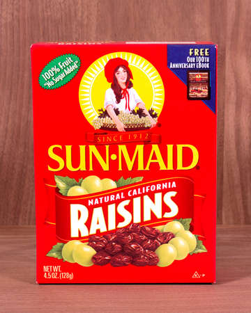RIVER FALLS,WISCONSIN-MARCH 08,2015: A box of Sun-Maid California raisins. Sun-Maid Growers is headquartered in Kingsberg,California.