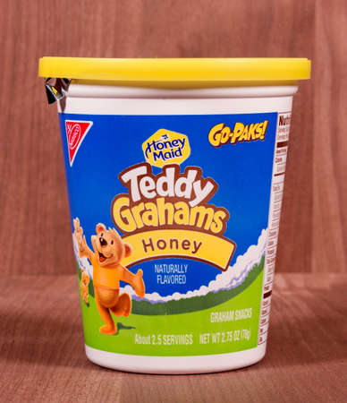 headquartered: RIVER FALLS,WISCONSIN-MARCH 08,2015: A container of Nabisco Teddy Graham crackers. Nabisco is headquartered in East Hanover,New Jersey.