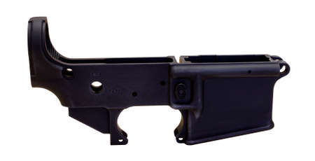 receiver: RIVER FALLS,WISCONSIN-MARCH 10,2015: A blank lower receiver used to build a complete AR-15 rifle.