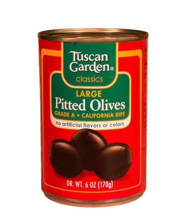 RIVER FALLS,WISCONSIN-MARCH 12,2015: A can of Tuscan Garden pitted olives. Tuscan Garden is a brand found at Aldi grocery stores.