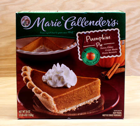 headquartered: RIVER FALLS,WISCONSIN-MARCH 12,2015: A Marie Callenders frozen pumpkin pie. Marie Callenders is headquartered in Mission Viejo,California.