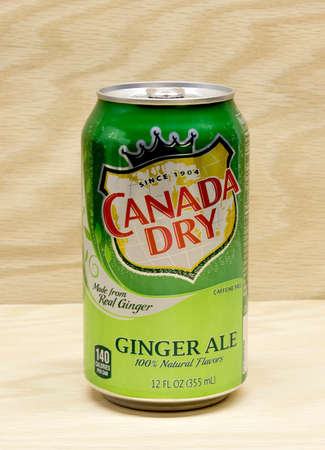 RIVER FALLS,WISCONSIN-MARCH 13,2015: A can of Canada Dry brand Ginger Ale. The Canada Dry brand is owned by Doctor Pepper Snapple Group.