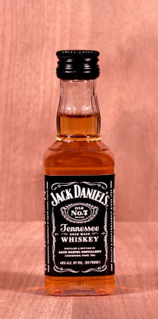 daniels: RIVER FALLS,WISCONSIN-MARCH 18,2015: A bottle of Jack Daniels sour mash whiskey. Jack Daniels is made in Lynchbury,Tennessee.