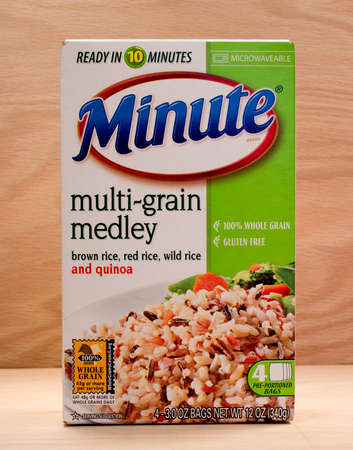 medley: RIVER FALLS,WISCONSIN-MARCH 20,2015: A box of Minute Rice multi-grain medley. Minute Rice was introduced in Nineteen Forty Nine.