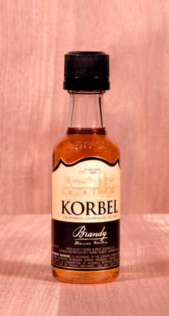 distilled: RIVER FALLS,WISCONSIN-MARCH 23,2015: A sample size bottle of Korbel brandy. This brandy is distilled by F. Korbel and Brothers of Digiorgio,California.