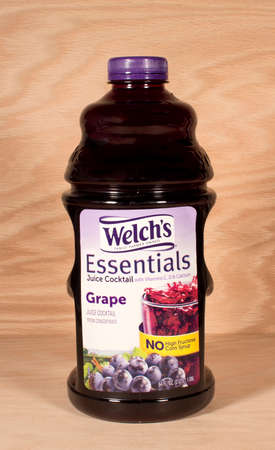 concord grape: RIVER FALLS,WISCONSIN-MARCH 26,2015: A bottle of Welchs grape juice. Welch Foods Incorporated is headquartered in Concord,Massachusetts. Editorial
