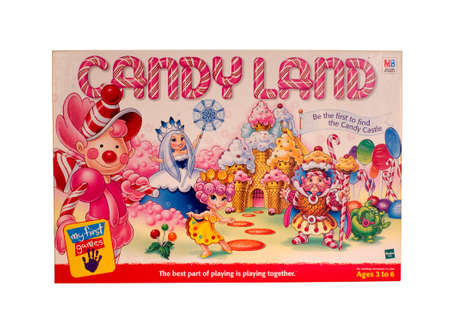 milton: RIVER FALLS,WISCONSIN-MARCH 28,2015: A vintage Candy Land game box distributed by Milton Bradley.