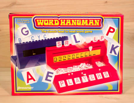 pressman: RIVER FALLS,WISCONSIN-APRIl 6,2015: A Word Hangman game box by Pressman. Pressman Toy Corporation is now owned by Goliath Games.