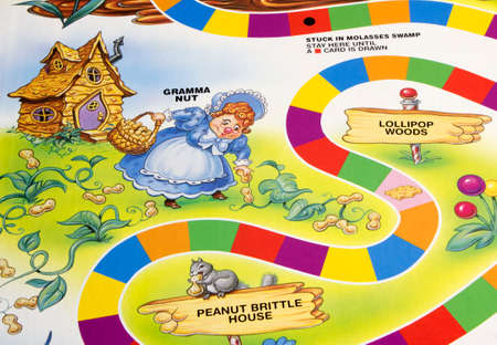 RIVER FALLS,WISCONSIN-APRIL 6,2015: A section of the Candy Land game board featuring Gramma Nut. Candy Land was first publiched in Nineteen Forty Nine.