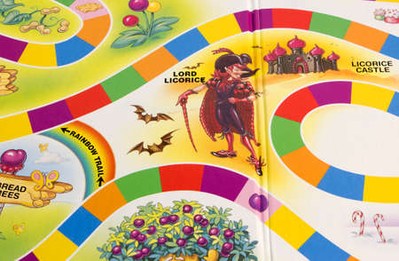 licorice: RIVER FALLS,WISCONSIN-APRI L9,2015: A section of the Candy Land game board featuring Lord Licorice. Candy Land was first publiched in Nineteen Forty Nine. Editorial