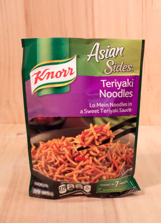 knorr: RIVER FALLS,WISCONSIN-APRIL 21,2015: A bag of Knorr brand Teriyaki Noodle mix. Knorr is a German brand headquartered in Heilbronn,Germany.