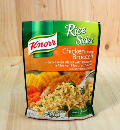RIVER FALLS,WISCONSIN-APRIL 23,2015: A bag of Knorr brand Chiclen and Brocolli Rice. Knorr is a German brand headquartered in Heilbronn,Germany.
