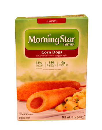 RIVER FALLS,WISCONSIN-MAY10,2015: A box of Morningstar Farms brand Corn Dogs. Morningstar Farms is a division of the Kellogg Company Redakční